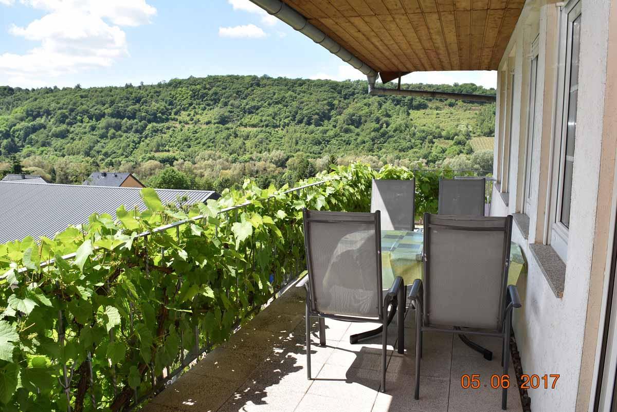Weingut an der Saar Ferienwohnung Saarblick Balkon- Weingut Borens