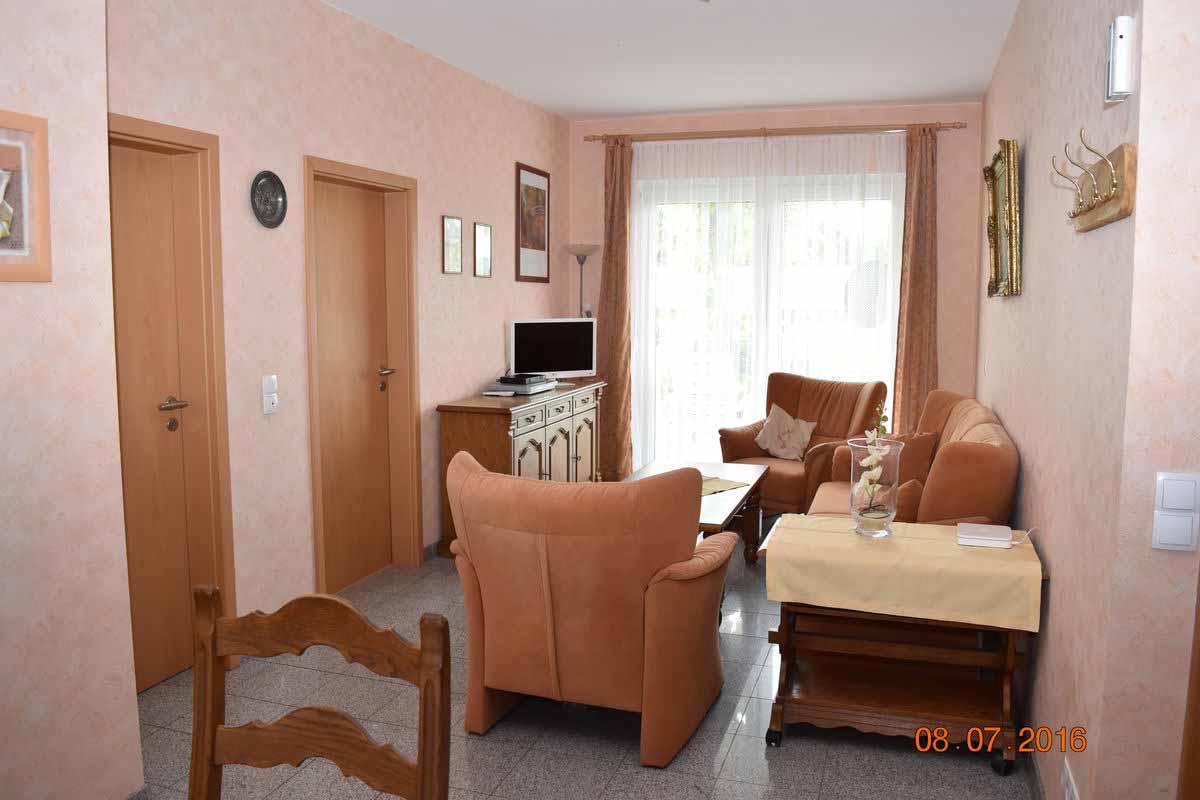 Wohnzimmer - Ferienwohnung Weingut an der Saar Weingarten