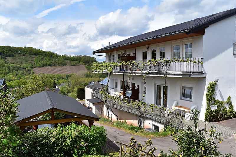 Ferienhaus Frontansicht auf dem Weingut an der Saar